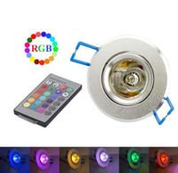 lámparas de pared de techo led rgb al por mayor-3W 85-265V RGB Lámpara empotrable en el techo Lámpara de techo Lámparas empotrables Lámpara empotrada Proyector + Control remoto RGB Bombillas LED KTV DJ Party LED Spotlight
