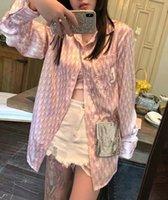 gevşek pembe elmas toptan satış-Sparkly Elmas Bayan Tasarımcı Gömlek Gevşek Mektup Baskı Pembe Bayan Bluzlar Casual Uzun Kollu Hırka Dişiler Giyim