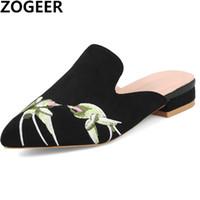 бежевые низкие каблуки оптовых-Summer 2019 New Fashion Shallow Slippers Women Low Heels  Designer Embroider Mules Shoes Woman Sweet Pink Beige Ladies Shoe
