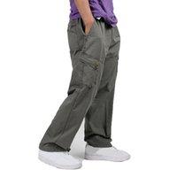 männer baggy schwarze hose großhandel-Herren Cargo Pants Multi Pocket Herren Baggy Pants Beiläufige Lose Khaki Schwarz Army Green Herren Hose Plus Size
