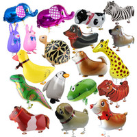 Wholesale party supplies walking animal balloons resale online - Walking Pet Animal Aluminum Foil Balloon Automatic Sealing Kids Baloon Toys Gift For Christmas Wedding Birthday Party Supplies RRA2014