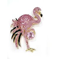 Wholesale pink rhinestone jewelry brooch resale online - Bird Brooch Pin Gold Tone Pink Rhinestone Crystal Brooches Fashion Animal Wedding Party Pins Jewelry For Sale