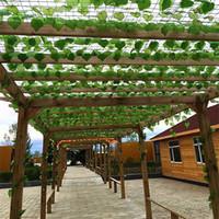 künstliche blattdekorationen großhandel-Künstliche Weinrebe verlässt Blatt Ivy Leafy Vine Natur im Freien Grüne lebendige Farbe Real Tree Leaf Wandbehang Gartendekoration