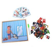 eğlenceli 3d bulmaca toptan satış-Manyetik Eğlenceli Yapboz Çocuk Ahşap Bulmaca Kurulu Kutusu Adet Oyunları Karikatür Eğitim Çizim Bebek Oyuncakları Kız Erkek, Ch