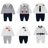 Wholesale gentleman clothes for sale - Group buy 8 Styles Kids Clothing Baby Boy Gentleman Rompers Newborn Baby Long Sleeved Jumpsuits Infant Designer Onesies Brand Toddler Clothes M280