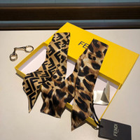 Wholesale small scarfs resale online - Top quality FF Designer brand silk scarf Autumn European leopard print Small female tied bag handle Handbag Twill Scarves Ribbons
