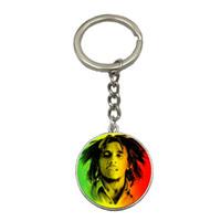 diy gümüş anahtarlıklar toptan satış-Bob Marley DIY Gümüş Zincir Anahtarlık El Yapımı Cam Kubbe Kolye Anahtarlık Araba Anahtarlık Arkadaş Için En Iyi Hediye