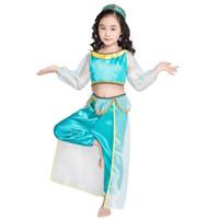 roupas extravagantes para meninas venda por atacado-Crianças roupas de grife meninas Aladdin Lâmpada Jasmim Princesa roupas crianças Cosplay Traje dos desenhos animados Crianças Roupas Fancy Dress C6859-1