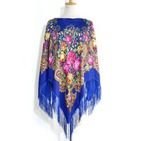 klasik kadın külotları kadınlar toptan satış-[FAITHINK] Moda Klasik Çiçek Kadınlar Bahar Panço Eşarp Şallar Lady Casual Yaz Püskül Rusya Sıcak Kısa Eşarp Hırka