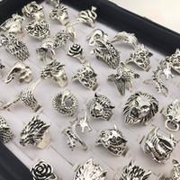 frauen antike ringe großhandel-Retro Punk Tier-Mischart antike silberne Ring-Persönlichkeits-Schmuck-Ringe für Mann-Frauen senden gelegentlich