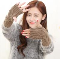 Wholesale arm warmers mittens resale online - Knitted warm women arm sleeves winter wool wrist warm mittens jacquard knit gloves fingerless glove