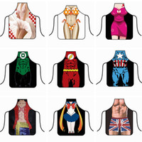 Wholesale sexy men aprons resale online - Sexy Cooking Apron Funny Kitchen Apron Party Baking BBQ Cosplay Aprons Creative Sexy Lady Man Cartoon Aprons Home Kitchen Tools HHA815