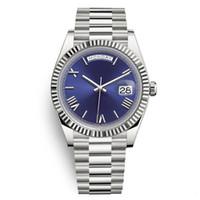 erkekler için swiss otomatik saatler toptan satış-Daydate Lüks Mens Watch Başkan Otomatik Saatler Erkekler Gümüş Kayış mavi Kadran Taç Saatler Erkekler İsviçre Tasarımcı Saatler Gün Tarih 40mm 2019