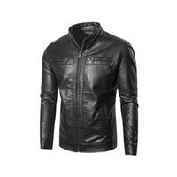 ingrosso rivestimento di cuoio dell'unità di elaborazione del collare alto-Nuovi giacche di pelle uomo giacche e cappotti Large Size PU Leather Jacket Colletto Stand coreano moda di alta qualità