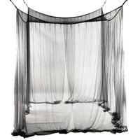 baldachin dekorationen großhandel-4-Corner Bed Netting Canopy Moskitonetz für Queen / King-Size-Bett 190 * 210 * 240 cm (schwarz) Bed Vorhang Raumdekoration