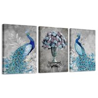 ingrosso casa di tela di canapa della parete della pittura del pavone-Peacock Wall Art per Camera da letto Blue Peacock Grey Background Animal Picture Frame Stampa su tela Pittura Modern Home Decor