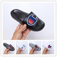 Wholesale moccasins booties resale online - 2019 New Arrival Champions Flip Flops Fashion Slippers Men Women Summer Beach Slipper Casual Sandals High Quality Scuffs Shoes Size