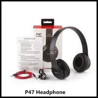 auriculares bluetooth auriculares tf al por mayor-P47 caliente inalámbrica Bluetooth auriculares banda para el cuello de reducción de ruido auriculares estéreo de auriculares de música Soporte de tarjeta TF auricular para juegos