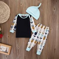 melhores chapéus de crianças venda por atacado-o melhor 2018 2019 New nascido Kid Baby Girl Boy T-shirt Tops + Pants Leggings + Hat Roupas Confecções