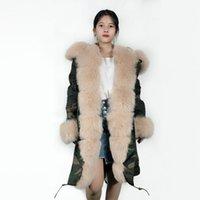 ingrosso cappotto invernale albicocca-Inverno albicocca lusso donne cappotto mimetico capispalla antivento giacca lunga