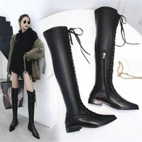 Wholesale punk black sneaker resale online - NAYIDUYUN Thigh High Boots Women Black Cow Leather Lace Up Knee High Riding Booties Low Heel Tall Shaft Punk Sneaker Oxfords