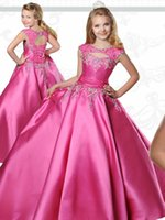Wholesale for teens for sale - Group buy Little Kids Pageant Dresses for Teens with Sabrina Neck Floor Length Fuchsia Taffeta Ball Gown Flower Girls Dress with Lace Up