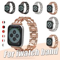 sacos do bracelete do opp venda por atacado-Para apple iwatch pulseira de substituição pulseira 38mm 42mm 44mm 40mm cintas de diamante pulseiras de metal pulseira ajustável com saco de opp
