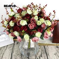 ramo de rosas falsas al por mayor-50 Manojo fresco flores artificiales de Rose 21 Jefes de bricolaje romántica de seda floral de reportes por fiesta de la boda decoración del hogar