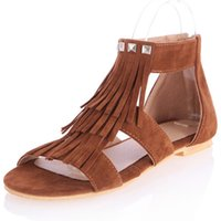 Wholesale zipper back shoes for sale - Group buy Sexy2019 Tassels Rome Rivet Flat Bottom Sandals Woman Will Code Women s Shoes Back Zipper Level With
