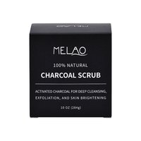 Wholesale natural body charcoal online - 30PCS MELAO Activated Charcoal Exfoliante Facial Scrub Blackhead Remover Anti Cellulite Treatment Great Body Scrub g