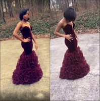 Wholesale size 14 prom dresses sale resale online - 2019 New Burgundy Sweetheart Organza Ruffles Evening Gowns Vevlet Ruffles Mermaid Floor Length Party Prom Dresses Hot Sale