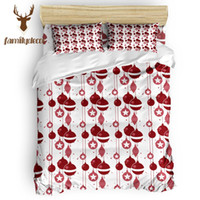 Wholesale red quilted bedding resale online - Family Decor Red Christmas Bell Piece Bedding Sets Quilt Bedding Set Quilted Duvet Set Machine Washable Duvet Cover Sets