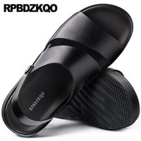 ingrosso sandali in cotone marrone-Open Toe Casual Large Size 46 italiani impermeabili sandali da uomo in pelle estate cinturino nero marrone moda stilista scarpe piatte # 56690