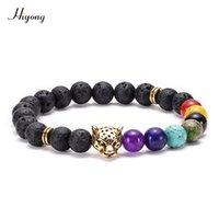 homens pulseira leão venda por atacado-HI YONG 7 Chakra pulseiras Homens Lava Beads Lion Leopard cabeça Bracelet Owl Buddha Bead Pulseira Pedra Natural Mulheres Yoga Jewelry