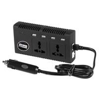 камеры с электроприводом оптовых-Инвертор мощностью 200 Вт с 4 портами USB DC 12 В в переменный ток 220 В с универсальными 2 розетками переменного тока Зарядное устройство для автомобильного ноутбука PSP Телефоны с камерами