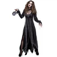ingrosso costume fantasma nero-Costume da vampiro zombie horror di Halloween per donna Costume da raccapricciante raccapricciante nero Abbigliamento spaventoso per donne femminili