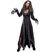 mulheres vestido zombie venda por atacado-Senhoras Halloween Gótico Horror Zombie Vampire Costume Preto Fantasma Horrível Vestido de Roupas Assustadoras Para As Mulheres do Sexo Feminino