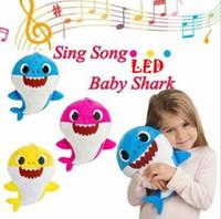 Wholesale baby stuffed animals online - 3 Colors cm LED Music Baby Shark Plush Toys Cartoon Stuffed Lovely Animal Soft Dolls Music Shark Plush Animals CCA11180