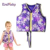 lila kinder jacken großhandel-Erapinky 2-6 Jahre Purple Flower Power Kinder Schwimmweste Kleinkind Schwimmweste Kinder Baby Schwimmweste Floats Foam Trainer Zwemvest