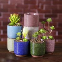 keramik blumen verkauf großhandel-Heißer Verkauf Eis Gebrochene Mini Keramik Blumentopf Bunte Niedlichen Blumentopf Für Desktop Dekoration Fleischige Topfpflanzen Pflanzgefäße