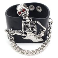 ingrosso guanti rivetti in pelle-Punk Rock Gothic Rivet Wrap Retro Unisex Bracciale Skeleton Skull Hand Glove Chain Link Wristband Bangle Bracciale in pelle da uomo