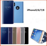 iphone 5s anzeigen flip cover großhandel-Smart Mirror Flip Telefon Fall für iPhone 7 8 X XS XR Clear View Smart Mirror Flip Fall für iPhone XS Max 5 5S SE 6 6S Plus Cover
