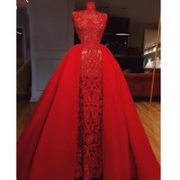 Wholesale red laced cocktail dresses for sale - Group buy High Neck Red Prom Dresses Sexy See Through Lace Overskirts Evening Dress Floor Length Custom Made Cocktail Party Dress robes de soiree