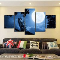 Wholesale owl pictures resale online - 5pcs set Unframed Owl and Moon Oil Painting On Canvas Wall Art Painting Art Picture For Living Room Decor
