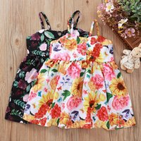 Wholesale cute summer dresses for sale - Group buy Baby Girl Dress Flower Printed Ins New Summer Boutique Cute Suspenders Dresses Sunflower Casual New