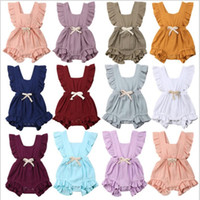 bebekler kızlar için toptan satış-Bebek Kız Giysileri Bebek Fırfır Tulum Toddle Yaz Katı Tulumlar Ins Yenidoğan Moda Butik Onesies Pamuk Bodysuits B4725 Tırmanmaya