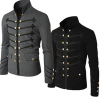 schwarze parade großhandel-Casual Men Oberbekleidung Plus Size Gothic Military Parade Jacke Tunika Winter Herbst Herrenmode Rock Black Steampunk Army Coat