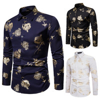 Gold Floral Bronzing Print Dress Shirt Men Party NightClub Tuxedo Shirt for Men 2019 Winter Long Sleeve Camisa Masculina J190789
