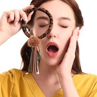Wholesale new keychain designs resale online - New Design PU Keychain Bracelet Keyring Large Wrist Leather Tassel Bracelet Key Holder For Women Girls Handbag Wallet Decoration