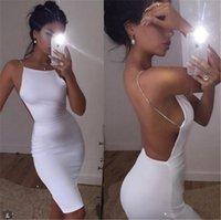 beyaz vücut kemeri bandaj toptan satış-Womens Seksi Kulübü Elbiseler Siyah Beyaz Backless Gece Kulübü Parti Elbise Geri Aç Kayış Bodycon Elbise Wrap Kadınlar Için Bandaj Elbise Yaz